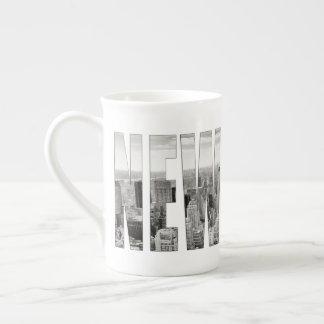 Manhattan, New York (black & white panorama) Tea Cup