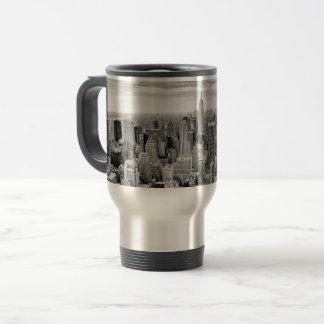 Manhattan, New York (black & white panorama) Travel Mug