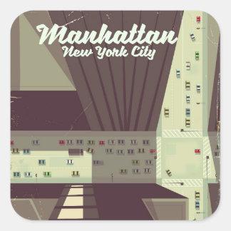Manhattan New York City Travel poster. Square Sticker