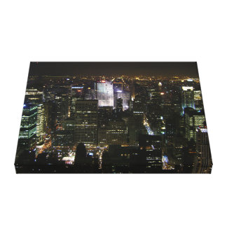 Manhattan New York Skyline At Night Wrapped Canvas