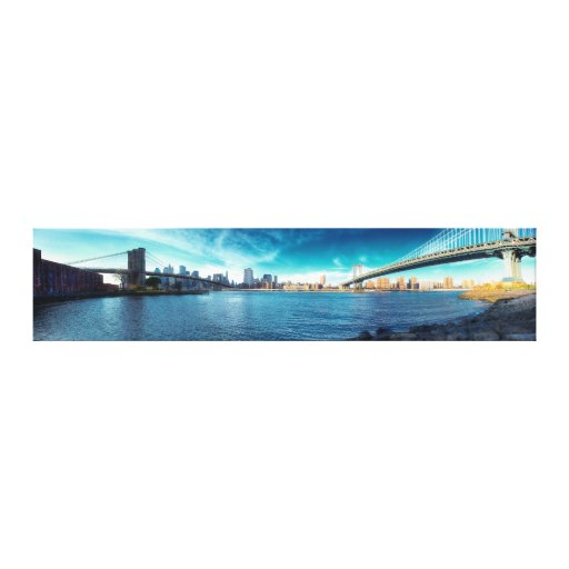 Manhattan New York Skyline from East River Stretched Canvas Print
