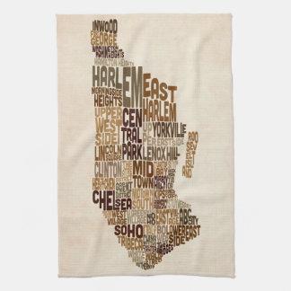 Manhattan New York Typography Text Map Tea Towel