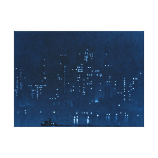 Manhattan Night Lights 1921 Gallery Wrapped Canvas