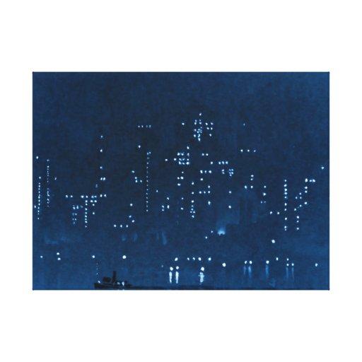 Manhattan Night Lights 1921 Gallery Wrapped Canvas