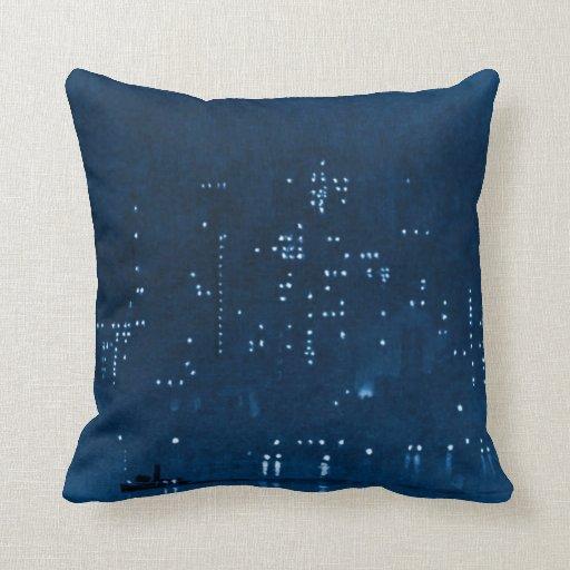 Manhattan Night Lights 1921 Throw Pillows