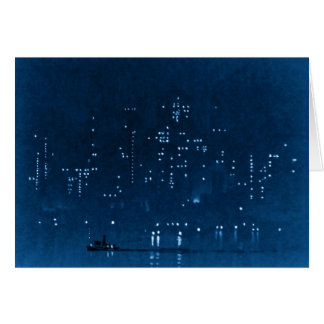 Manhattan Night Lights 1921 Greeting Card