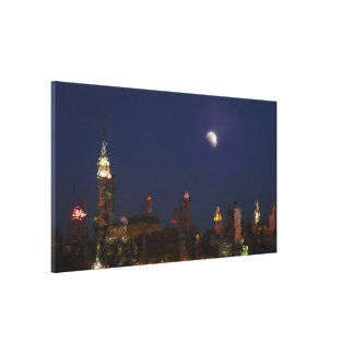 Manhattan Night Skyline Impressionist Canvas Canvas Print