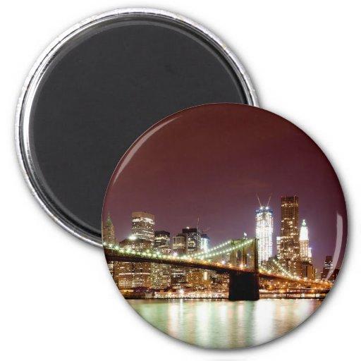 Manhattan night view over Brooklyn Bridge Refrigerator Magnet