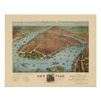 Manhattan, NY Panoramic Map - 1879 Poster