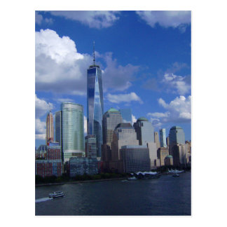 Manhattan NYC World Trade Center WTC Hudson River Postcard