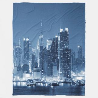 Manhattan Panoramic View Night Skyline Fleece Blanket