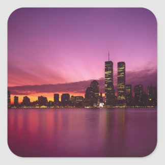 Manhattan Skyline and Hudson River, New York, Square Sticker