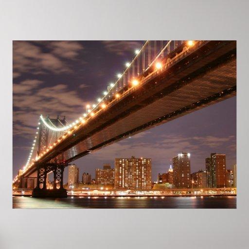 Manhattan Skyline and Manhattan Bridge At Night Print