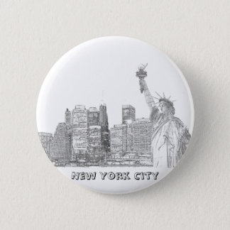 Manhattan Skyline and The Statue of Liberty 6 Cm Round Badge