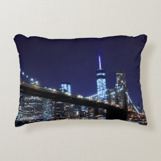 Manhattan Skyline and The Statue of Liberty Decorative Cushion