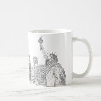 Manhattan Skyline and The Statue of Liberty Coffee Mugs