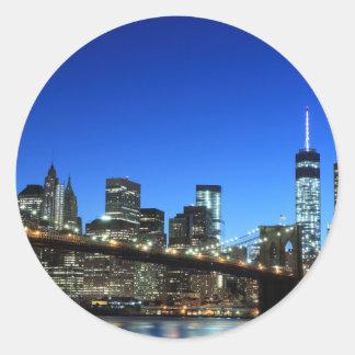 Manhattan skyline at Night Lights, New York City Round Sticker
