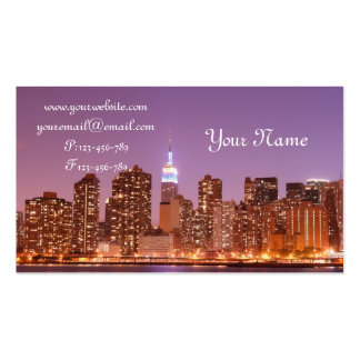Manhattan Skyline at Night, New York City Business Cards