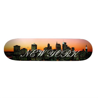 Manhattan Skyline at Twilight, New York picture... Skate Deck