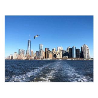 Manhattan Skyline from Ferry, New York City Postcard