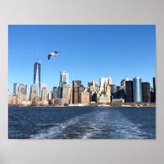Manhattan Skyline from Ferry, New York City Poster