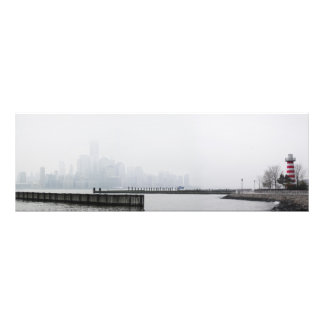 Manhattan Skyline in Fog with Lighthouse Photograph