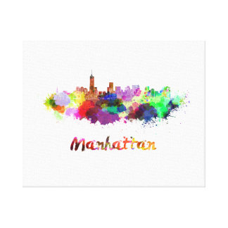 Manhattan skyline in watercolor canvas print