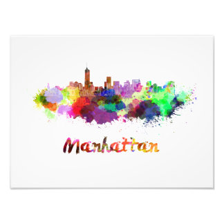 Manhattan skyline in watercolor photo print