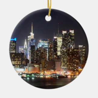 Manhattan Skyline New York at night Round Ceramic Decoration
