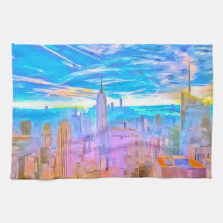 Manhattan Skyline Pop Art Tea Towel