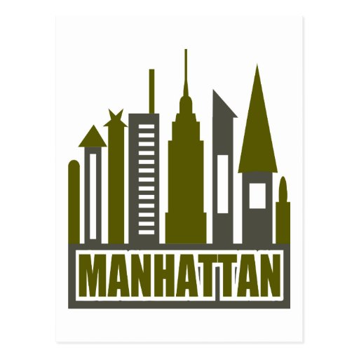 Manhattan Skyline With Cutouts, Gray & Green Post Cards