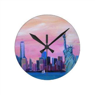 Manhattan Skyline with Statue of Liberty Round Clock
