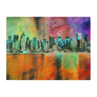 Manhattan skyline wood wall art