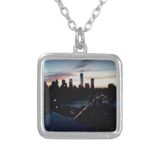 Manhattan Sunset Square Pendant Necklace