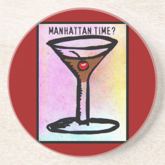 MANHATTAN TIME MARTINI PRINT COASTER