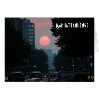 Manhattanhenge: setting pinkish orange sun card