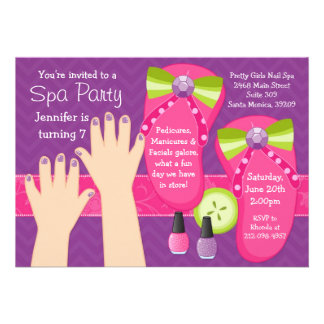 Mani Pedi Spa Birthday Party Invitation