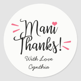 Mani Thanks Labels Stickers
