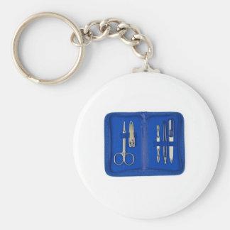 manicure set basic round button key ring