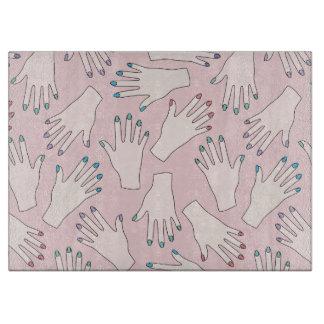Manicured Hands Nail Studio Pink Pastel Pattern Cutting Board