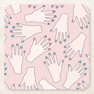 Manicured Hands Nail Studio Pink Pastel Pattern Square Paper Coaster