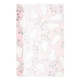Manicured Hands Nail Studio Pink Pastel Pattern Stationery Design