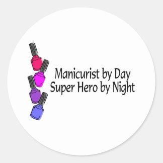 Manicurist Super Hero Round Stickers