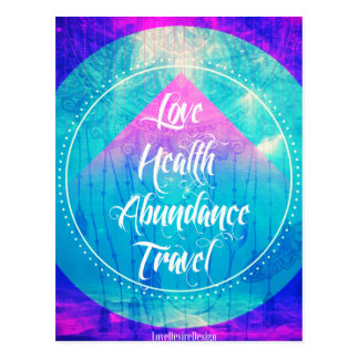 Manifesting Love Health Abundance Travel series Postcard