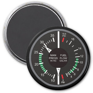 Manifold Pressure and Fuel Flow Airplane Dashboard Magnet