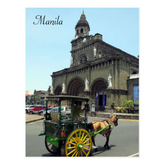 manila cathedral cart postcard