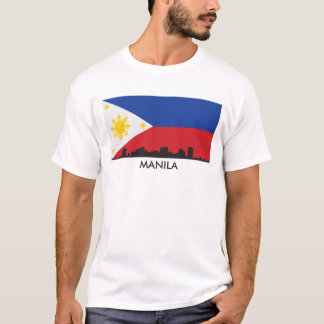 Manila Philippines Skyline Filipino Flag T-Shirt