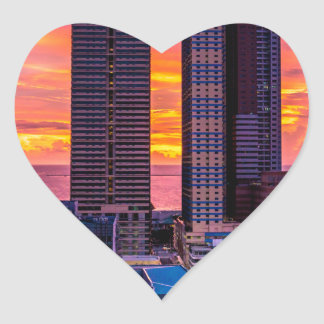 Manila Philippines Skyline Heart Sticker