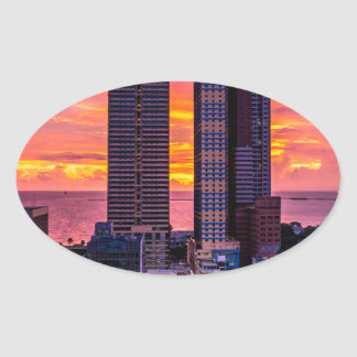 Manila Philippines Skyline Oval Sticker