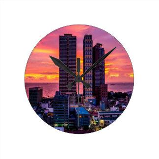Manila Philippines Skyline Round Clock
